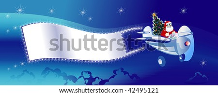 Santa Flying In The Sky With Christmas Plane And A Blank Banner With Text Happy Holidays Stock photo © hittoon
