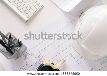 Overview of working supplies of contemporary engineer on desk Stock photo © pressmaster