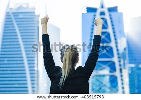 Hoog gelukkig kaukasisch zakenvrouw permanente Stockfoto © wavebreak_media