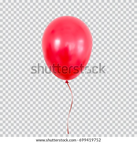 Realistic white and red balloon on white background with shadow and confetti. Shine helium balloon f Stock photo © olehsvetiukha