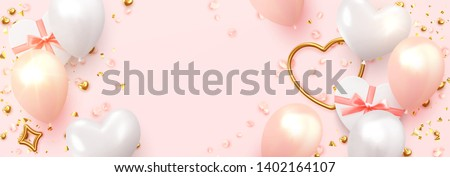 Realistic golden heart balloon on white background with shadow. Shine helium balloon for wedding, Bi Stock photo © olehsvetiukha