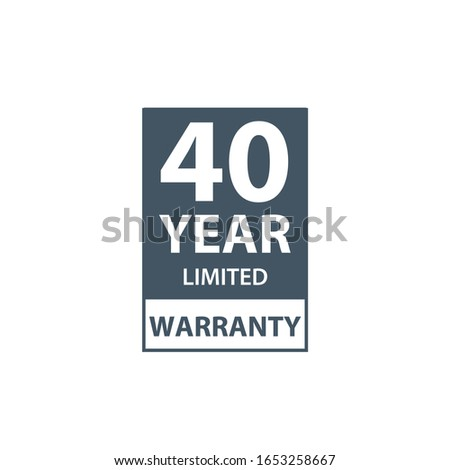 40 years limited warranty icon or label, certificate for customers, warranty stamp or sticker. vecto Stock photo © kyryloff