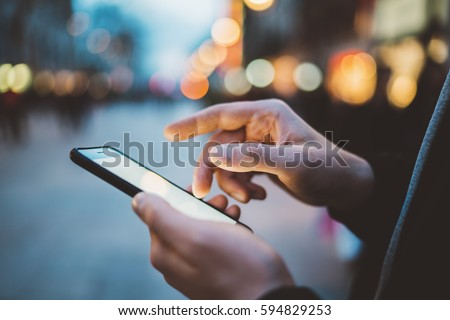 Hand using smartphone with technology concept Stock photo © ra2studio