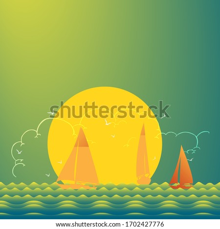 Yachts and lighthouse on beautiful place at sunset, vector illustration Stock photo © Zhukow