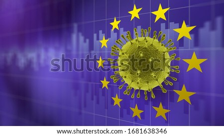 Molecule of Coronavirus in the center of EU symbol on the background of stock market graphs. Stock photo © artjazz