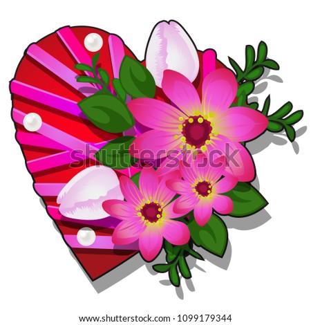 форме сердце красный цвета украшенный Сток-фото © Lady-Luck