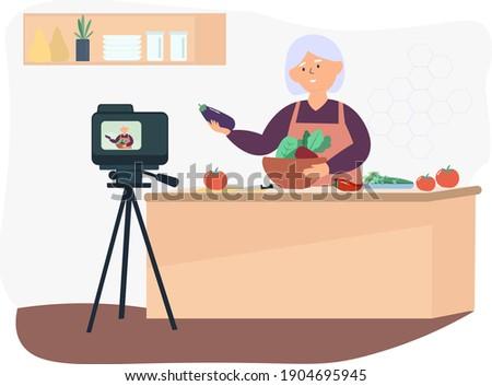 Blogger streaming domu ilustracja społecznej dystans Zdjęcia stock © RAStudio