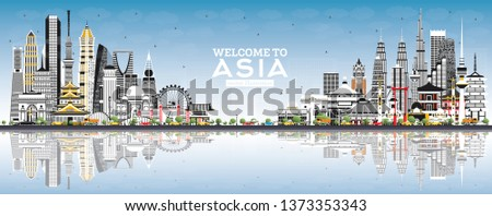Singapore skyline with grey landmarks, blue sky and copy space. Stock photo © ShustrikS