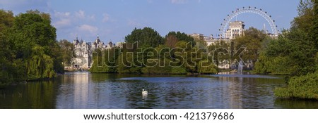 st james park with london eye and horse guards buildings london uk stock photo © fisfra