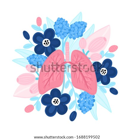 Vector healthy lungs on flowers. Illustration for label, advertisement of pulmonary medicine, poster Stock photo © user_10144511