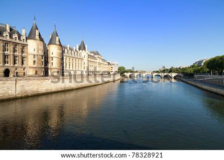 Banken rivier historisch gebouwen klassiek architectuur Stockfoto © Anneleven