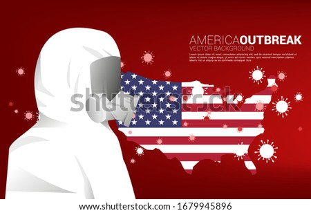 Stock photo: Warning sign with molecula of Coronavirus on the American flag.