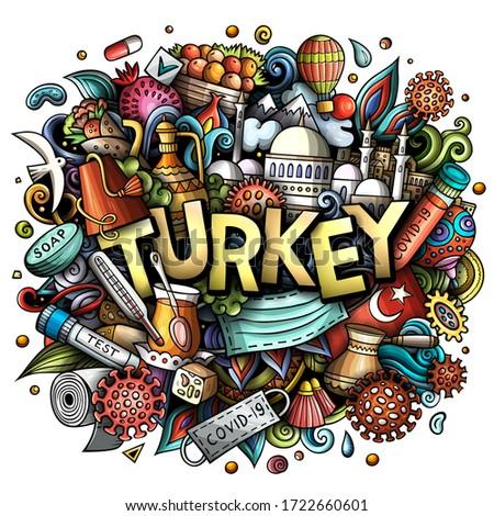 Türkiye karikatür karalamalar örnek coronavirüs Stok fotoğraf © balabolka