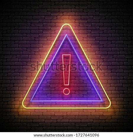 Glow Exclamation Mark in Triangle Border, Attention Warning Sign Stock photo © lissantee