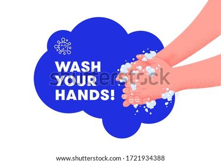 Vorbeugung Vorlage waschen Hände Plakat Stock foto © orson