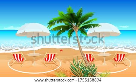 Beach holiday after coronavirus covid 19 epidemic. Chaise longue social distance. Vector cartoon ill Stock photo © orensila
