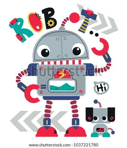 Funny Cartoon robot cute retro robótica Foto stock © designer_things