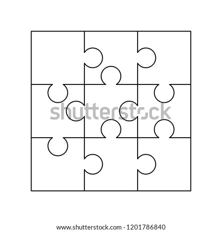 9 white puzzles pieces arranged in a square. Jigsaw Puzzle template ready for print. Cutting guideli Stock photo © evgeny89