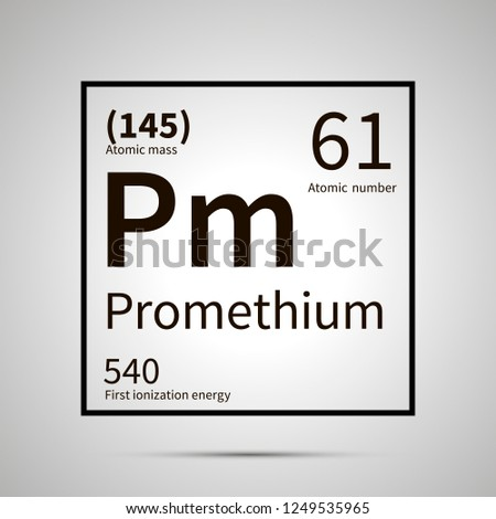 Promethium chemical element with first ionization energy, atomic mass and electronegativity values , Stock photo © evgeny89
