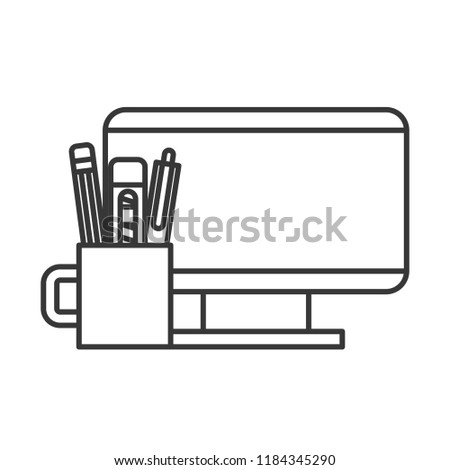 computer and supplies pencil pen cutter Stock photo © yupiramos