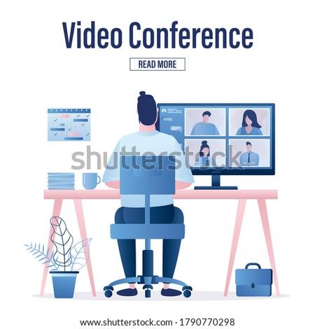 Web sayfa dizayn şablonları evden çalışma video Stok fotoğraf © PureSolution
