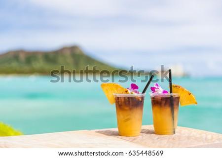 Hawaii Cocktail trinken Waikiki Strand bar Stock foto © Maridav