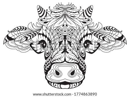 Koe hoofd vrouwelijke symbool Tribal tattoo Stockfoto © orensila