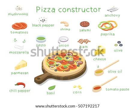Pizza Shrimp isometric icon vector illustration Stock photo © pikepicture
