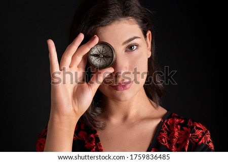 Caucasian Business Woman Holding Compass and Smiling at Camera Stock photo © Qingwa