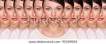 Prety young woman standing with her clones against white backgro Stock photo © HASLOO