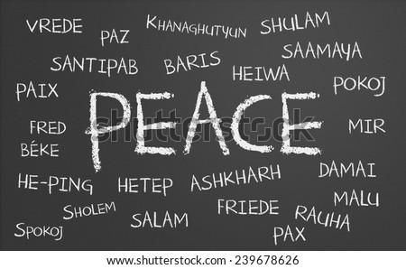 Paz palavra escrito lousa chinês tradução Foto stock © bbbar