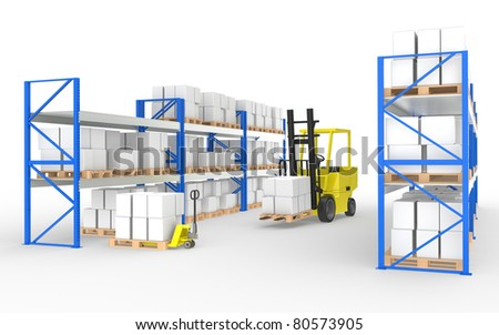 Forklift truck, hand truck and shelves.Part of a Blue and yellow Warehouse and logistics series Stock photo © JohanH