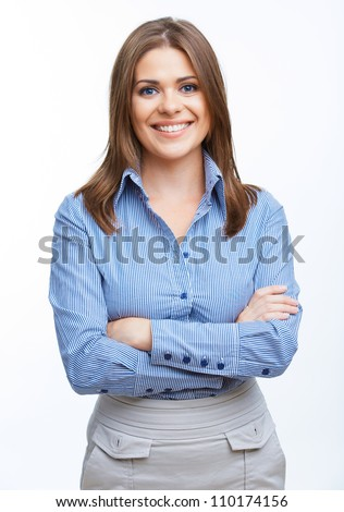 Portrait of a smiling blue eyed student against white background stock photo © wavebreak_media