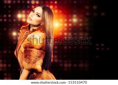 Stockfoto: Mooie · vrouw · lang · bruin · haar · luxe · pels