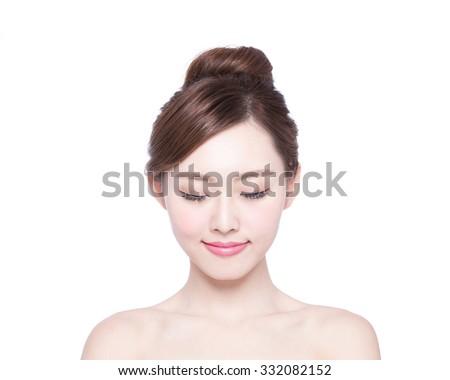 Genot behandeling schoonheid model vrouw gezicht mooi meisje Stockfoto © Victoria_Andreas