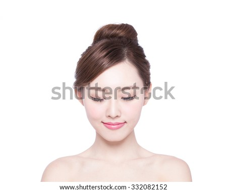 Enjoyment. Treatment. Beauty Model Woman Face. Beautiful Girl Wi Stock photo © Victoria_Andreas