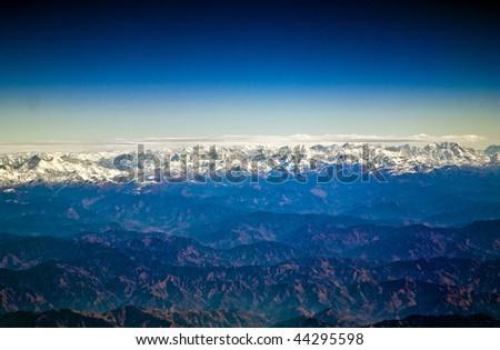 飛行 ヒマラヤ山脈 午前 日の出 2番目の 飛行機 ストックフォト © meinzahn