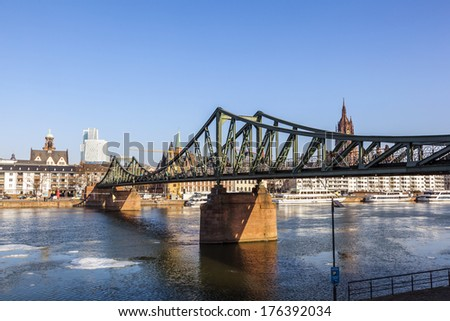 old historic bridge eiserner steg in frankfurt am main germany stock photo © meinzahn