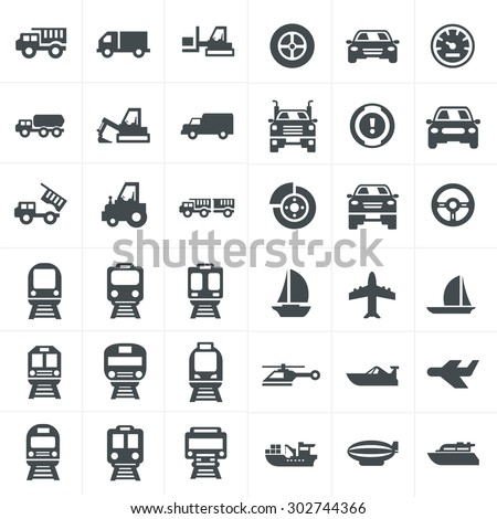 set of water transport black icons stock photo © ecelop