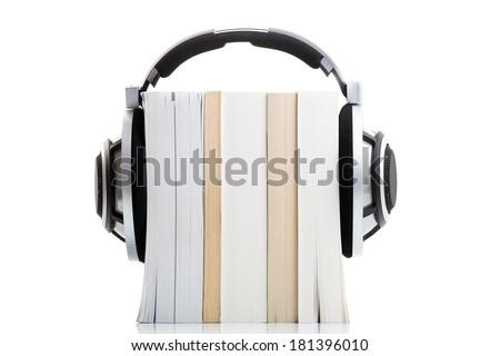 Hallgat könyvek hd minőség hifi fejhallgató Stock fotó © lightpoet