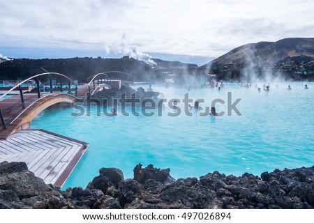 Kék Izland meleg víz kövek kövek Stock fotó © compuinfoto