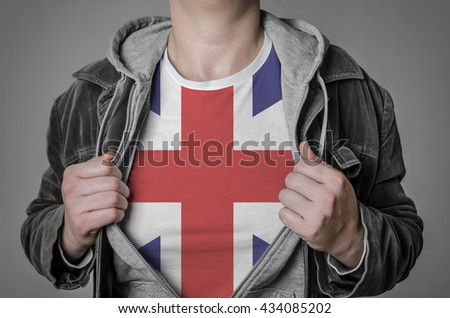 man stretching jacket to reveal shirt with great britain flag stock photo © stevanovicigor