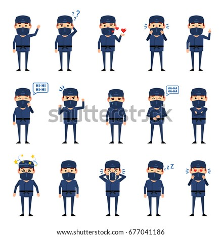 Collection of cute cartoon ninja warriors with various weapon, v Stock photo © BlueLela