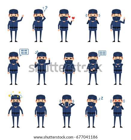 ninja · guerreiro · avatar · branco · homem · preto - foto stock © bluelela
