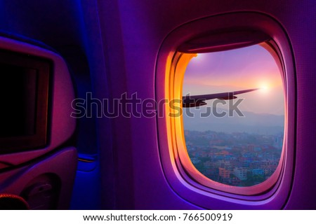 Wing Of Airplane From Window Stock photo © sippakorn