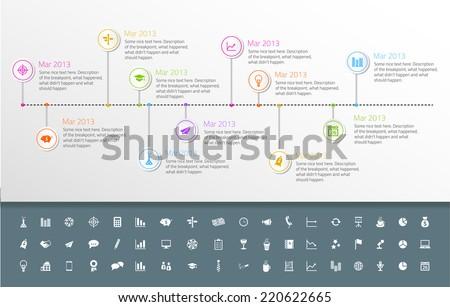 Timeline modello adesivo stile set icone Foto d'archivio © liliwhite