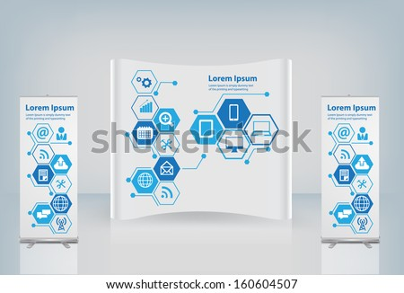 Marketing concept ad stand on tablet illustration design over wh Stock photo © alexmillos