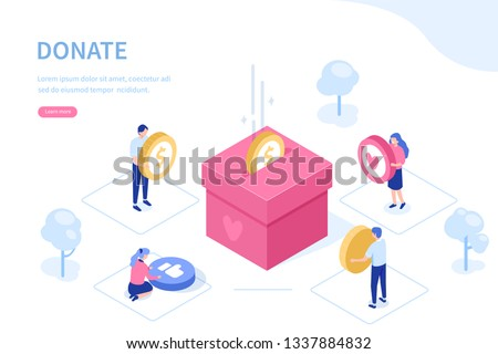 vector flat illustration of an infographic fundraising concept. a benefactor giving money for non pr Stock photo © maximmmmum