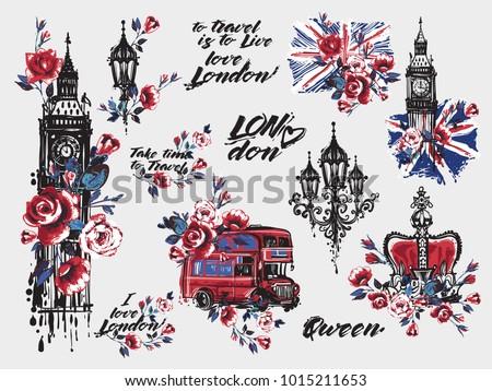 Vecteur couleur pour aquarelle illustration Londres Big Ben tour Photo stock © maximmmmum