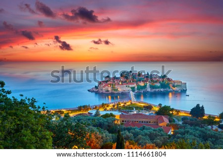 Sveti Stefan, small islet and resort in Montenegro. Balkans, Adriatic sea, Europe.  Stock photo © sarymsakov